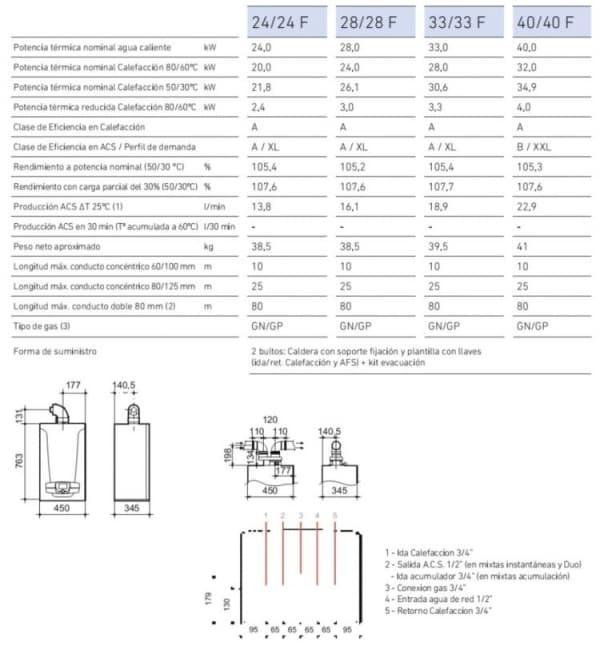 ficha tecnica caldera de gas